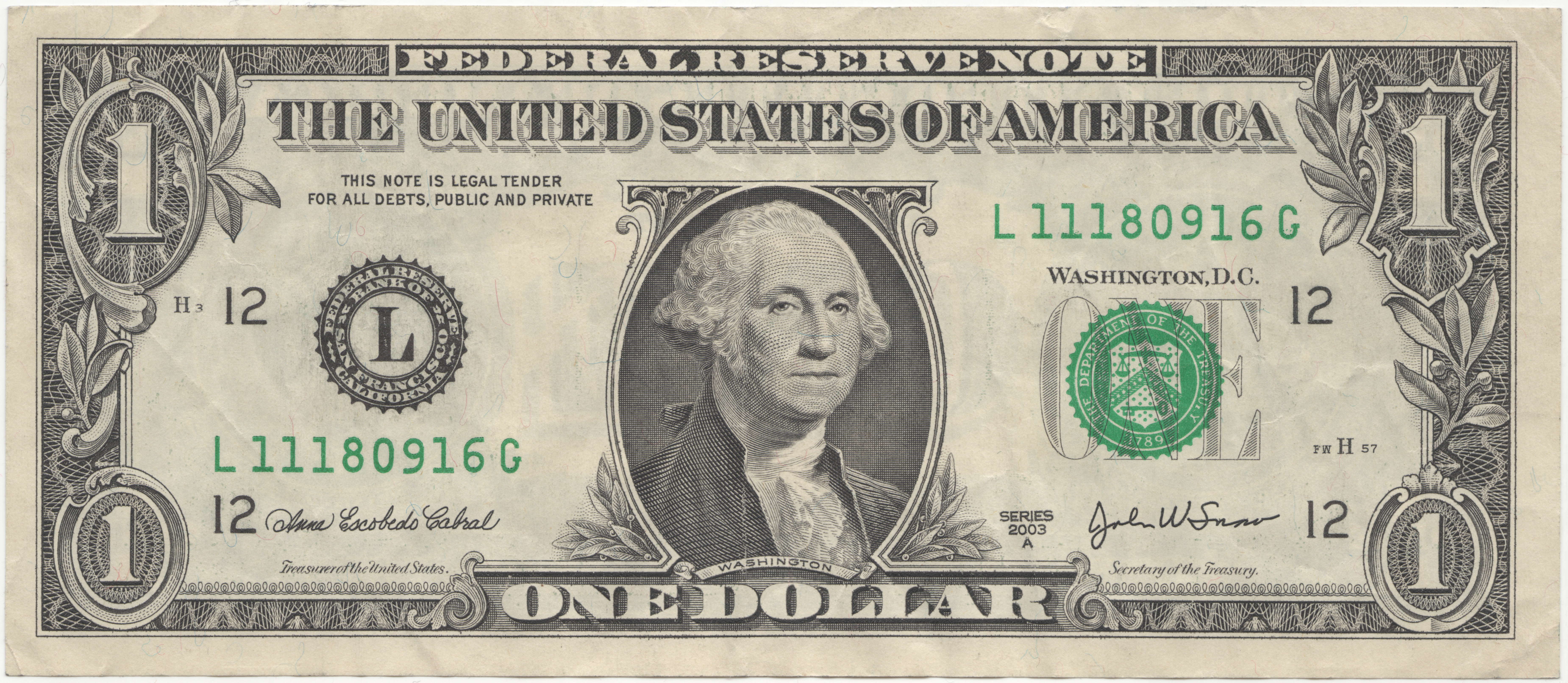 US-Dollar... United States one dollar bill, series 2003